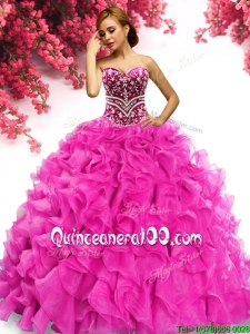 Latest Hot Pink Organza Quinceanera Dress with Beading and Ruffles
