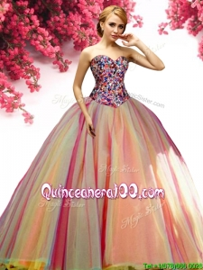 Affordable Rainbow Big Puffy Tulle Quinceanera Dress with Beading