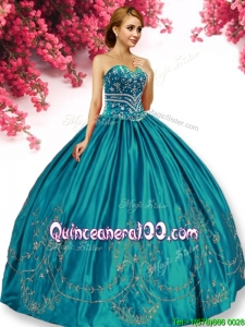 Elegant Big Puffy Turquoise Quinceanera Dress with Beading and Embroidery