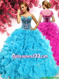 Gorgeous Beaded and Ruffled Quinceanera Dress in Aqua Blue