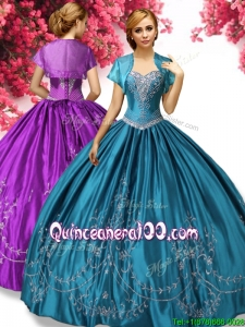 Hot Sale Embroideried Big Puffy Quinceanera Dress in Teal