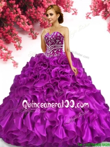 Hot Sale Organza Fuchsia Quinceanera Dress with Beading and Ruffles