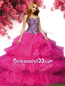 Modest Fuchsia Organza Quinceanera Dress with Ruffled Layers and Beading
