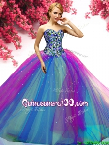 Most Popular Rainbow Big Puffy Quinceanera Dress with Beading