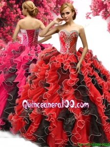 Perfect Red and Black Quinceanera Dress with Beading and Ruffles