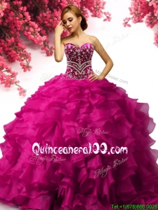 Popular Big Puffy Fuchsia Quinceanera Dress with Beading and Ruffles