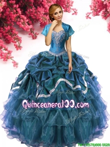Romantic Big Puffy Teal Quinceanera Dress with Beading and Ruffled Layers