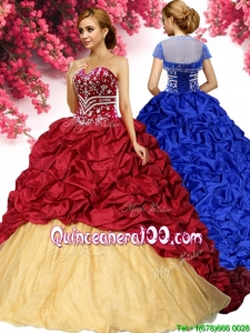 Wonderful Beaded and Pick Ups Quinceanera Dress with Brush Train