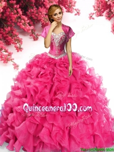 Gorgeous Organza Hot Pink Quinceanera Dress with Appliques and Ruffles