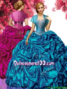 Latest Applique and Pick Ups Taffeta Quinceanera Dress in Teal