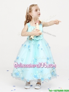 Cheap Straps Applique and Bowknot Flower Girl Dress in Ankle Length