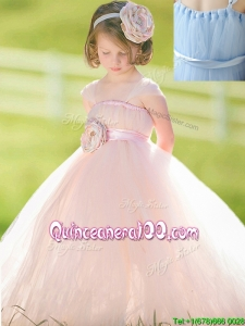 Pretty Straps Baby Pink Flower Girl Dress with Hand Made Flower
