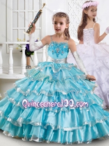 Cheap Spaghetti Straps Ruffled Layers Mini Quinceanera Dress in Organza