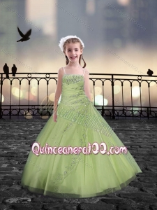 Spaghetti Straps Beaded Mini Quinceanera Dresses in Yellow Green