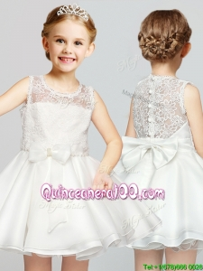 2017 Cute A Line Scoop Laced and Bowknot Flower Girl Dress in White