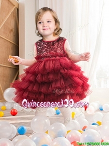Lovely Wine Red Short Flower Girl Dress with Sequins and Ruffled Layers