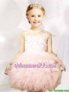 2017 Pretty See Through Applique and Ruffled Flower Girl Dress in Tulle