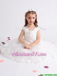 Handcrafted Flowers Decorated Scoop Flower Girl Dress with Cap Sleeves