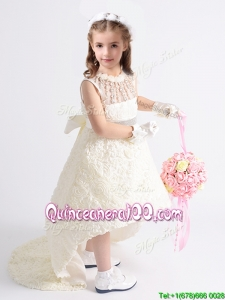 Lovely See Through Beaded and Bowknot Flower Girl Dress in Rolling Flowers