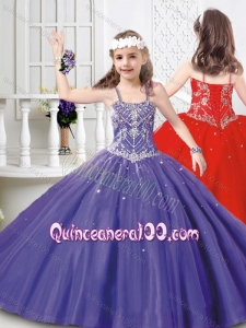 Modest Straps Beaded Mini Quinceanera Dress in Tulle