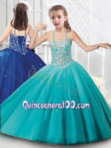 New Style Tulle Beaded Mini Quinceanera Dress with Spaghetti Straps