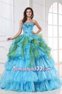 Appliques with Sequins Organza Long Quinceanera Dress in Aqua Blue