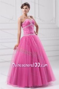 Rose Pink Sweetheart Beaded Decorate Tulle Quinceanera Dress