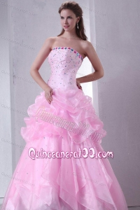Baby Pink Strapless Beading and Pick-ups Organza Quinceanera Dress