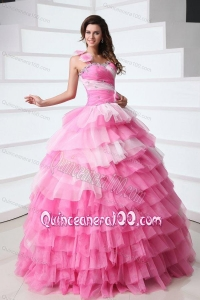 Pink One Shoulder Beading Quinceanera Dress with Ruffles
