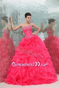 Sweetheart Beading and Ruffles Organza Coral Red Quinceanera Dress