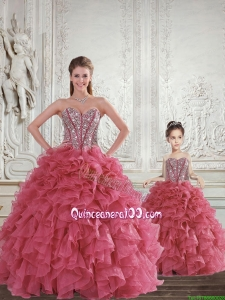 Romantic Beading and Ruffles Rust Red Sweet 15 Dress for 2015