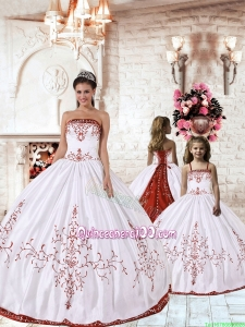 2015 Fashionable Red Embroidery White Princesita Dress