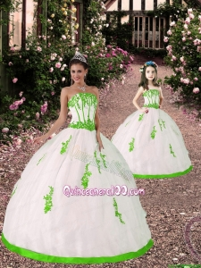 2015 Spring Appliques Princesita Dress in White and Spring Green