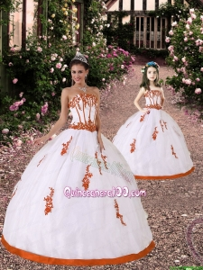 2015 Trendy Appliques Princesita Dress in White and Orange Red