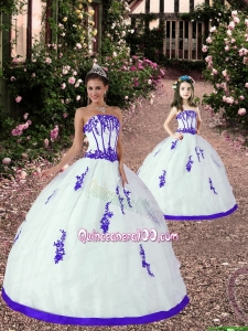 Affordable White and Purple Princesita Dress with Appliques