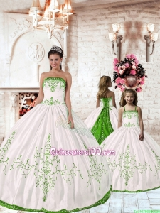 Pretty Spring Green Embroidery White Princesita Dress for 2015 Spring
