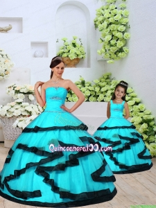 2015 Fashionable Aqua Blue Princesita Dress with Beading and Ruching