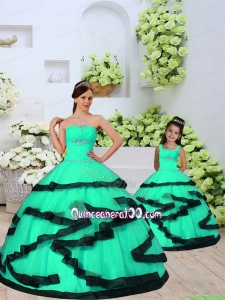 2015 Modest Beading and Ruching Princesita Dress in Turquoise