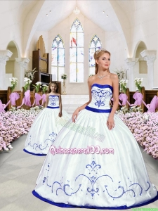 2015 New Style Embroidery Princesita Dress in White and Royal Blue