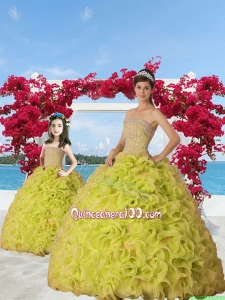 Exquisite Beading and Ruffles Yellow Green Princesita Dress