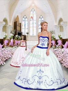 Luxurious Embroidery White and Royal Blue Princesita Dress for 2015