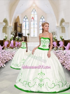 Unique Embroidery White and Spring Green Princesita Dress for 2015 Spring