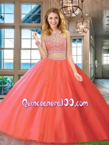 Beautiful Two Piece Tulle Brush Train Quinceanera Dress with Beaded Bodice