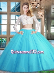 Romantic Two Piece Laced and Beaded Zipper Up Quinceanera Dress in Baby Blue