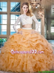 Cheap Beaded Laced Ruffled and Bubble Zipper Up Quinceanera Dress in Gold