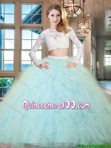 Classical Two Piece Beaded Decorated Waist Ruffled Light Blue Quinceanera Dress