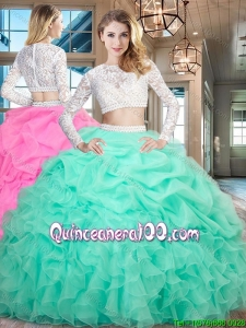 Elegant Two Piece Ruffled and Bubble Mint Quinceanera Dress with Long Sleeves