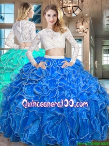 Exquisite Laced Bodice Beaded Decorated Waist Royal Blue Quinceanera Dress