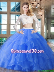 Gorgeous Brush Train Laced Ruffled Quinceanera Dress with Long Sleeves