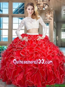 Latest Organza Red Quinceanera Dress with Laced Bodice and Beaded Decorated Waist